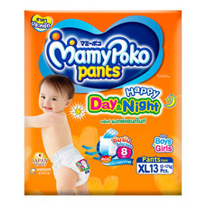 กางเกงผ้าอ้อมเด็กมามี่โพโค แฮปปี้แพ้นท์ เดย์&ไนท์ ไซส์ XL 13 ชิ้น