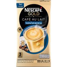 เนสกาแฟโกลด์คาเฟ่โอเลท์ กาแฟสำเร็จรูปชนิดผง สูตรไม่มีน้ำตาลทราย แพ็ค 3 ซอง