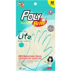 ถุงมือยางโพลีไบรท์ size M (แพ๊ค3)