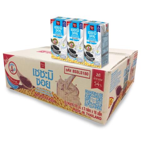 เซซะมิซอย นมถั่วเหลือง UHT สูตรหวานน้อย 180 มิลลิลิตร (ยกลัง 48 กล่อง)