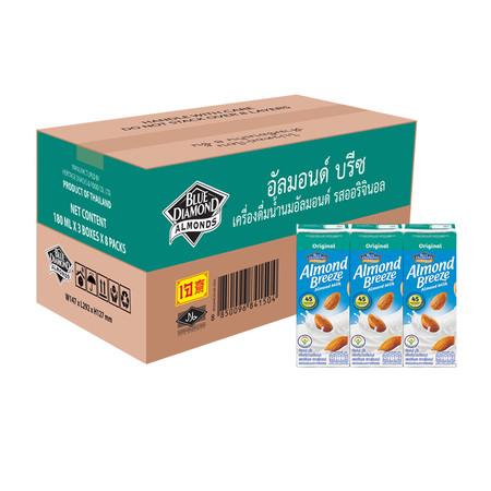 อัลมอนด์บรีซ นมอัลมอนด์ รสออริจินัล 180 มิลลิลิตร (ขายยกลัง 24 กล่อง)