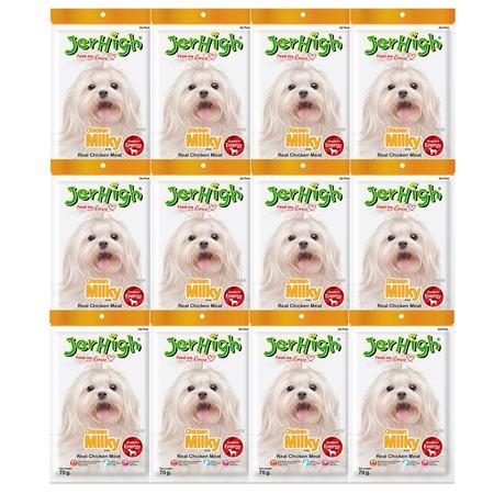 ขนมสุนัขเจอร์ไฮ สติ๊ก มิลกี้ 70ก. (1แพ็ก 12 ชิ้น)