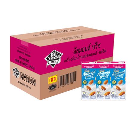 อัลมอนด์บรีซ นมอัลมอนด์ สูตรไม่หวาน 180 มิลลิลิตร (ขายยกลัง 24 กล่อง)
