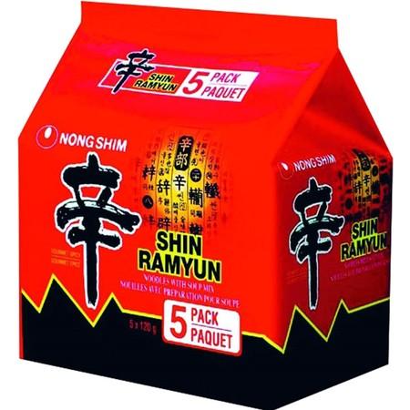 นงชิมซินราเมียนบะหมี่กึ่งสำเร็จรูปชนิดซอง รสเผ็ดเห็ดหอม120ก แพ็ก 5