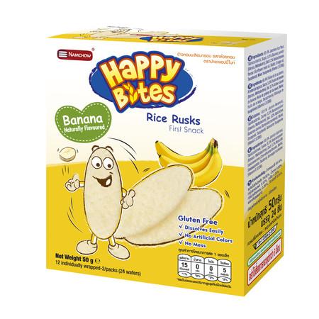แฮปปี้ไบท์รข้าวอบกรอบรสกล้วย 50 กรัม
