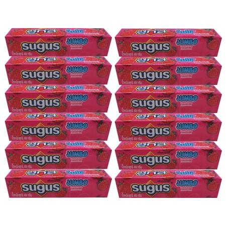 ซูกัสลูกอมจัมโบ้ราสเบอร์รี่แท่ง 48 กรัม ( แพ็ก 12 )