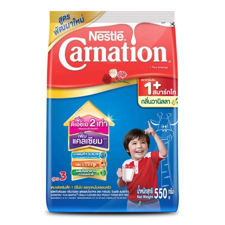 เนสท์เล่คาร์เนชั่นสมาร์ทโกวันพลัส นมผงสูตร 3 กลิ่นวานิลลา สำหรับเด็กอายุ 1 ปีขึ้นไป 550 ก.