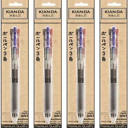 KIAN-DA ปากกาเจลลูกลื่น3in1 4U 0.5mm BS บรรจุ 1 แพ็ก 4 ชิ้น