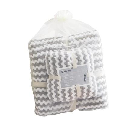 ชุดของขวัญ ผ้าขนหนู Set B สีเทา ขาว