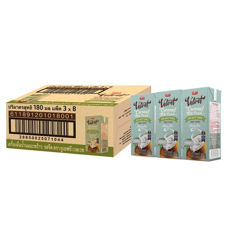 ยูเอฟซี เวลเวท นมมะพร้าว รสจืด 180 มล. (ยกลัง 24 กล่อง)