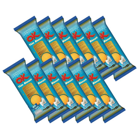 โอเค บิสกิตแผ่นบาง รสนม 60 กรัม(แพ็ก12)