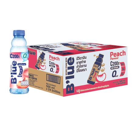 น้ำดื่มบลูพีช สูตรไม่มีน้ำตาล 500 มล. (ยกลัง 24 ขวด)