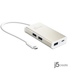 J5 USB Type-C 4-Port (3A1C) Hub with Power Delivery 2.0