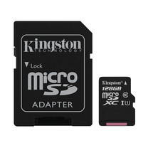 Kingston Canvas Select 128GB MicroSDXC Class 10 80r/10w Memory Card + SD Adapter (SDCS/128GB)