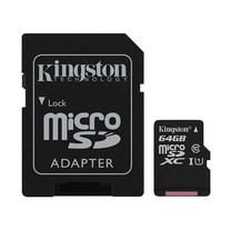 Kingston Canvas Select 64GB MicroSDXC Class 10 80r/10w Memory Card + SD Adapter (SDCS/64GB)