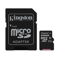 Kingston 256GB Canvas Select MicroSDXC Class 10 80r/10w MB/s Memory Card + SD Adapter (SDCS-256GB)
