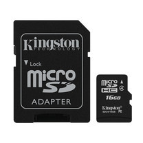 Kingston 16GB MicroSDHC Class 4 4MB/S Memory Card + SD Adapter (SDC4/16GB)