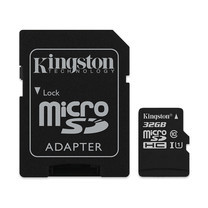 Kingston 32GB Canvas Select MicroSDHC Class 10 80r/10w MB/s Memory Card + SD Adapter (SDCS-32GB)