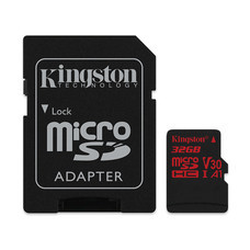 Kingston Canvas React 32GB MicroSDHC Class U3 UHS-I 4K 100r/70w Memory Card + SD Adapter (SDCR/32GB)