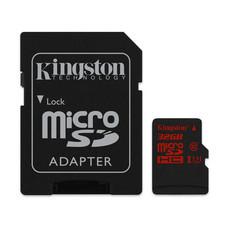 Kingston 32GB MicroSDHC Class 10 U3 UHS-I 90r/80w Memory Card + SD Adapter (SDCA3/32GB)