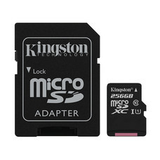 Kingston 256GB New Canvas Select MicroSDXC Class 10 100r/85w MB/s Memory Card + SD Adapter (SDCS2-256GB)