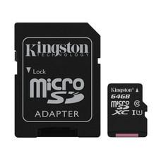 Kingston 64GB MicroSDXC Class 10 80R /10W Memory Card + SD Adapter (SDC10G2/64GB)