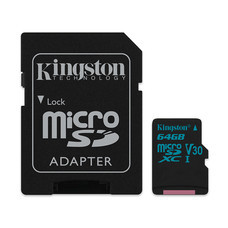 Kingston Canvas Go 64GB MicroSDXC Class 10 U3 UHS-I 4K 90r/45w Memory Card + SD Adapter (SDCG2/64GB)