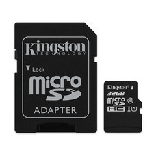 Kingston Canvas Select 32GB MicroSDHC Class 10 80r/10w Memory Card + SD Adapter (SDCS/32GB)