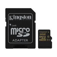 Kingston Gold 32GB MicroSDHC Class 10 U3 UHS-I 4K 90r/45w Memory Card + SD Adapter (SDCG/32GB)