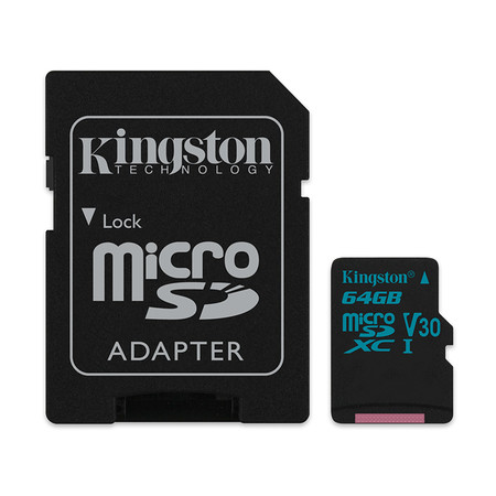 Kingston Canvas Go 64GB MicroSDXC Class 10 U3 UHS-I 4K 90r/45w Memory Card + SD Adapter (SDCG2/64GB)