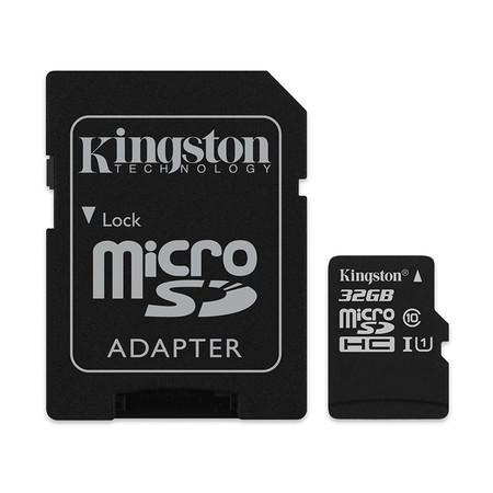 Kingston 32GB Canvas Select MicroSDHC Class 10 80r/10w MB/s Memory Card + SD Adapter (SDCS-32GB)