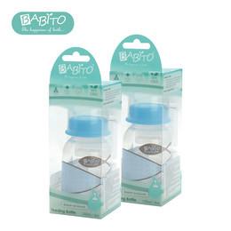 บาบิโต้ ขวดนมปลอดสารบีพีเอพร้อมวาล์วกันสำลัก รุ่นคาบาน่า ขนาด 4 ออนซ์ สีฟ้า 2 แพ็ก