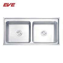EVE อ่างล้างจานสแตนเลสสตีล 2 หลุม ไม่มีที่พักจาน รุ่น ROMO 1000/500