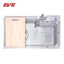 EVE อ่างล้างจานสแตนเลสสตีล 1 หลุม พร้อมอุปกรณ์ ไม่มีที่พักจาน รุ่น OPTIMAS 750/450