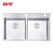 EVE อ่างล้างจานสแตนเลสสตีล 2 หลุม ไม่มีที่พักจาน รุ่น MIRA 885/510