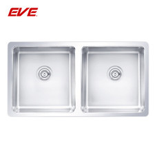 EVE อ่างล้างจานสแตนเลสสตีล 2 หลุม ไม่มีที่พักจาน ชนิดติดตั้งใต้เคาน์เตอร์ รุ่น UNDERMOUNT 760/445
