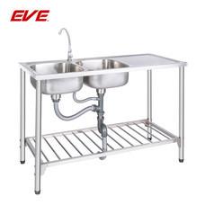 EVE อ่างล้างจานสเตนเลสสตีลชนิดมีขาตั้ง 2 หลุม 1 ที่พักจาน รุ่น ALTON 1200/500