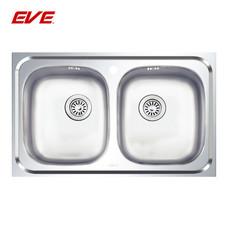 EVE อ่างล้างจานสแตนเลสสตีลล 2 หลุม ไม่มีที่พักจาน รุ่น DELUXE 800/500