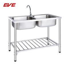 EVE อ่างล้างจานสเตนเลสสตีลชนิดมีขาตั้ง 2 หลุม ไม่มีที่พัก รุ่น ATHENS 1000/500