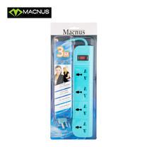MACNUS รางปลั๊กไฟ 4 ช่อง ยาว 3 เมตร 220V รุ่น MN6164 (สีฟ้า)