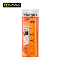MACNUS รางปลั๊กไฟ 5 ช่อง ยาว 3 เมตร 220V รุ่น MN6165 (สีส้ม)