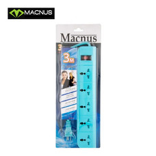 MACNUS รางปลั๊กไฟ 5 ช่อง ยาว 3 เมตร 220V รุ่น MN6165 (สีฟ้า)