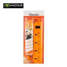 MACNUS รางปลั๊กไฟ 4 ช่อง ยาว 3 เมตร 220V รุ่น MN6164 (สีส้ม)