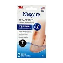 3M Nexcare Tegaderm เทกาเดิร์ม แผ่นเทปใสปิดแผลกันน้ำ ฟิล์มปิดแผลกันน้ำ A1 ขนาด 6x7ซม. (3ชิ้น/ซอง) [1 ซอง]