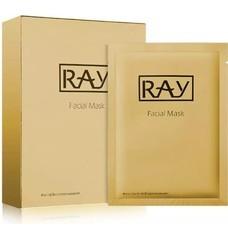 RAY FACIAL MASK GOLD 10'S แผ่นมาสก์หน้า อุดมด้วยสารสกัดจากทองคำบริสุทธิ์ ช่วยลดเลือนริ้วรอย จุดด่างดำ และกระชับรูขุมขน พร้อมเพิ่มความชุ่มชื้น ให้ผิวกระจ่างใส เปล่งปลั่ง ดูอ่อนวัย