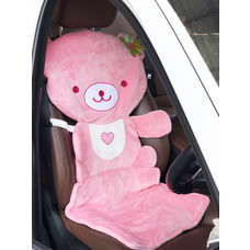 Nicopy ผ้าหุ่มเบาะรองนั่งลายหมี (สีชมพู) NCP-CI-020019