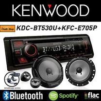 KENWOOD KDC-BT530U วิทยุติดรถยนต์ วิทยุ 1 DIN BLUETOOTH + KFC-E705P ลำโพงแยกชิ้นติดรถยนต์ ลำโพงรถยนต์ 6.5 นิ้ว 1 คู่