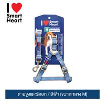 ไอ เลิฟ สมาร์ทฮาร์ท - สายจูงและรัดอก / สีฟ้า (ขนาดกลาง M) / I Love SmartHeart - Leash+Harness / Blue (size M)