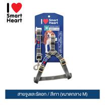 ไอ เลิฟ สมาร์ทฮาร์ท - สายจูงและรัดอก / สีเทา (ขนาดกลาง M) / / I Love SmartHeart - Leash+Harness / Gray (size M)