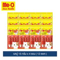 มีโอ ครีมมี่ ทรีต รสปู 15 ก. x 4 ซอง (12 แพ็ค) / Me-O Cat Creamy Treats Crab Flavor 15g. X 4 sachets (12 packs)
